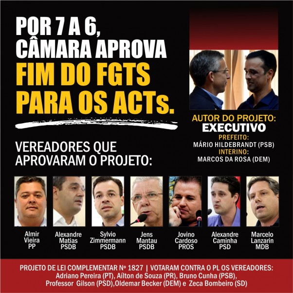 Vereadores aprovam fim fgts acts sintraseb